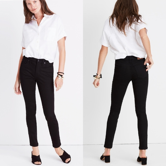 "Madewell Denim - Madewell 9"" High rise tall stay black skinny Jeans"